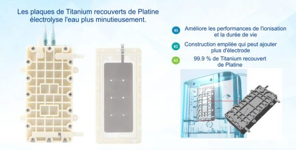 Genesis 1, GENESIS 1 – ioniseur d'eau alcalin sur comptoir, pH 10, 5 plaque de titanium – EOS Hitech, Aqualife.ca